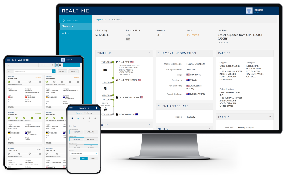 Customer platform Röhlig Real Time on different devices